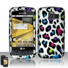 Hard Rubber Feel Design Case for LG Optimus S/U/V - Colorful Leopard