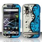 Hard Rubber Feel Design Case for Motorola Photon 4G MB855 (Sprint) - Blue Vines