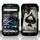 Hard Rubber Feel Design Case for Motorola Photon 4G MB855 (Sprint) - Spade Skull