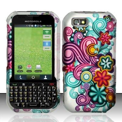 Hard Rubber Feel Design Case for Motorola Titanium i1x (Sprint) - Purple Blue Flowers