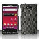 Hard Rubber Feel Design Case for Motorola Triumph WX435 (Virgin Mobile) - Carbon Fiber