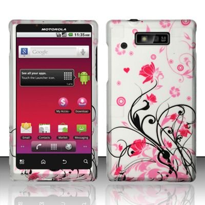 Hard Rubber Feel Design Case for Motorola Triumph WX435 (Virgin Mobile) - Pink Garden