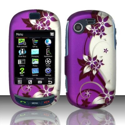 Hard Rubber Feel Design Case for Samsung Gravity Touch - Purple Vines
