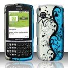 Hard Rubber Feel Design Case for Samsung Replenish M580 - Blue Vines