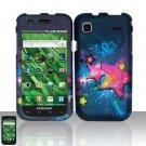 Hard Rubber Feel Design Case for Samsung Vibrant/Galaxy S T959 - Blue Stars