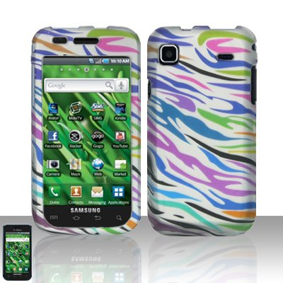 Hard Rubber Feel Design Case for Samsung Vibrant/Galaxy S T959 - Colorful Zebra