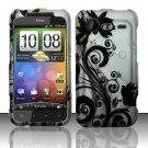 Hard Rubber Feel Design Case for HTC DROID Incredible 2 6350 (Verizon) - Black Vines