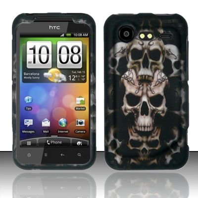 Hard Rubber Feel Design Case for HTC DROID Incredible 2 6350 (Verizon) - Ancient Skulls