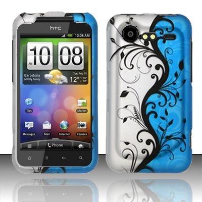 Hard Rubber Feel Design Case for HTC DROID Incredible 2 6350 (Verizon) - Blue Vines