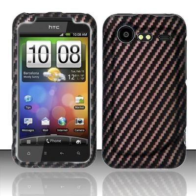 Hard Rubber Feel Design Case for HTC DROID Incredible 2 6350 (Verizon) - Carbon Fiber V2