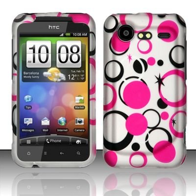 Hard Rubber Feel Design Case for HTC DROID Incredible 2 6350 (Verizon) - Pink Dots