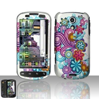 Hard Rubber Feel Design Case for Samsung Epic 4G (Sprint) - Purple Blue Flowers