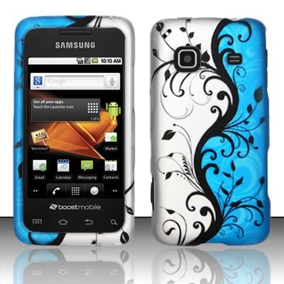 Hard Rubber Feel Design Case for Samsung Galaxy Prevail - Blue Vines