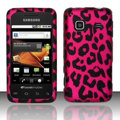 Hard Rubber Feel Design Case for Samsung Galaxy Prevail - Pink Leopard