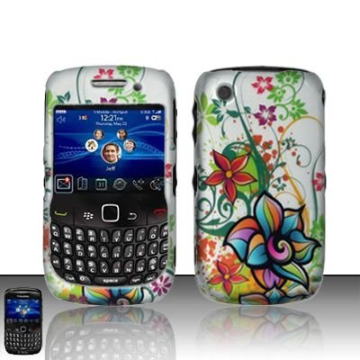 Hard Rubber Feel Design Case for Blackberry Curve 8520/9300 - Painted Flowers