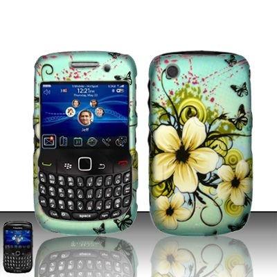 Hard Rubber Feel Design Case for Blackberry Curve 8520/9300 - Natural Flowers