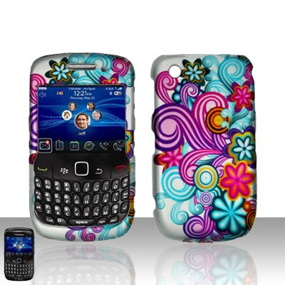 Hard Rubber Feel Design Case for Blackberry Curve 8520/9300 - Purple Blue Flowers