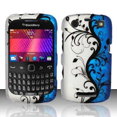 Hard Rubber Feel Design Case for Blackberry Curve 9360/9370 - Blue Vines