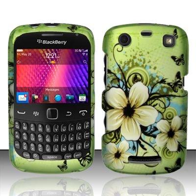 Hard Rubber Feel Design Case for Blackberry Curve 9360/9370 - Hawaiian Flowers