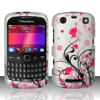 Hard Rubber Feel Design Case for Blackberry Curve 9360/9370 - Pink Garden