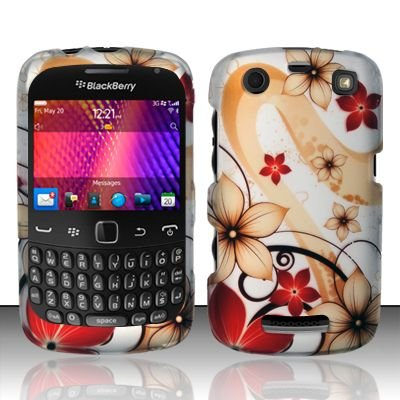 Hard Rubber Feel Design Case for Blackberry Curve 9360/9370 - Red Flowers