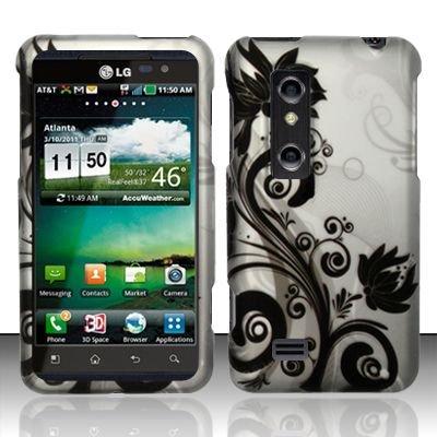 Hard Rubber Feel Design Case for LG Thrill 4G P925 (AT&T) - Black Vines