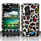 Hard Rubber Feel Design Case for LG Thrill 4G P925 (AT&T) - Colorful Leopard