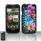 Hard Rubber Feel Design Case for Samsung Fascinate - Blue Blossom