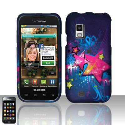 Hard Rubber Feel Design Case for Samsung Fascinate - Blue Stars