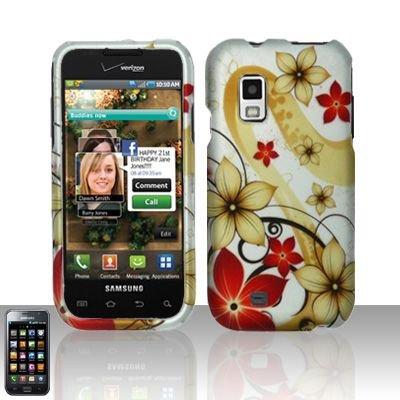 Hard Rubber Feel Design Case for Samsung Fascinate - Red Flowers