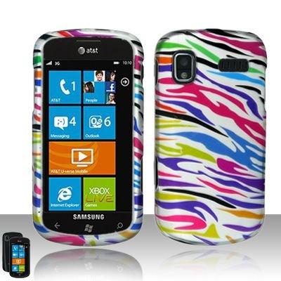 Hard Rubber Feel Design Case for Samsung Focus - Colorful Zebra