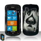 Hard Rubber Feel Design Case for Samsung Focus - Spade Skull