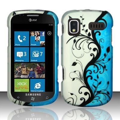 Hard Rubber Feel Design Case for Samsung Focus - Blue Vines