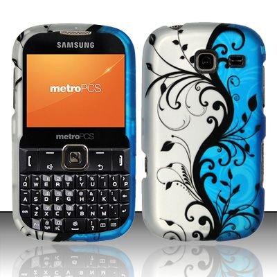 Hard Rubber Feel Design Case for Samsung Freeform 3/Comment - Blue Vines
