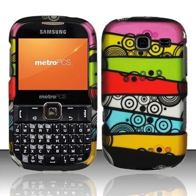 Hard Rubber Feel Design Case for Samsung Freeform 3/Comment - Colorful Stripes