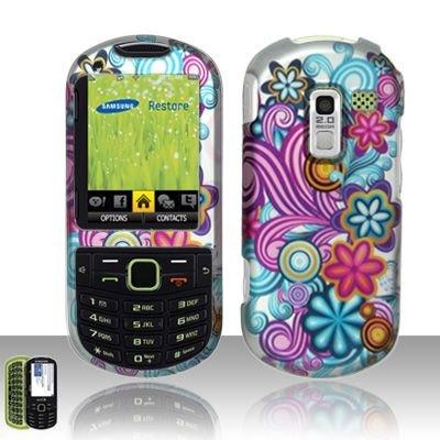 Hard Rubber Feel Design Case for Samsung Messager 3 - Purple Blue Flowers