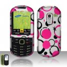 Hard Rubber Feel Design Case for Samsung Messager 3 - Pink Dots