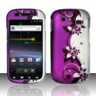 Hard Rubber Feel Design Case for Samsung Nexus S 4G - Purple Vines