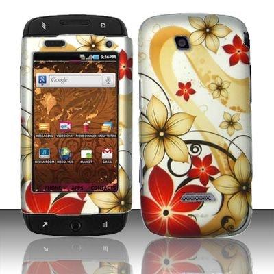 Hard Rubber Feel Design Case for Samsung Sidekick 4G - Red Flowers