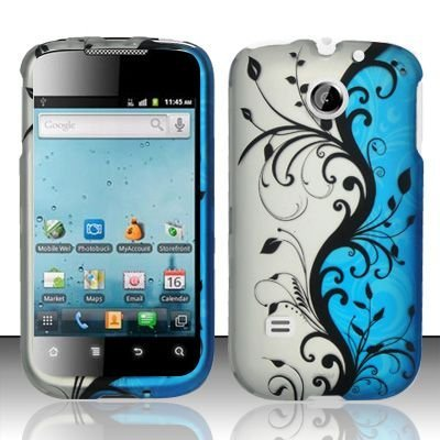 Hard Rubber Feel Design Case for Huawei Ascend II M865 - Blue Vines