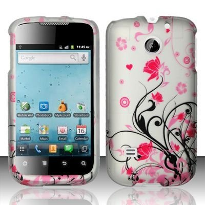 Hard Rubber Feel Design Case for Huawei Ascend II M865 - Pink Garden