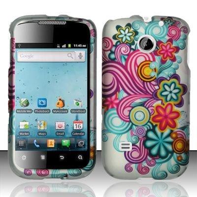 Hard Rubber Feel Design Case for Huawei Ascend II M865 - Purple Blue Flowers