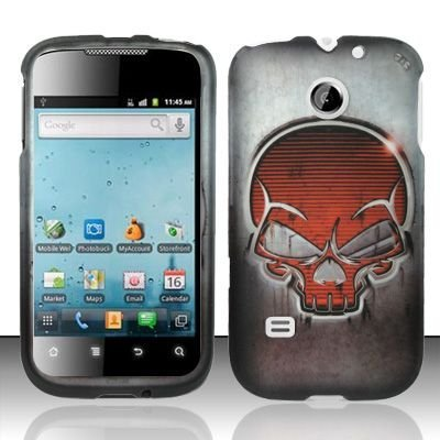 Hard Rubber Feel Design Case for Huawei Ascend II M865 - Red Skull