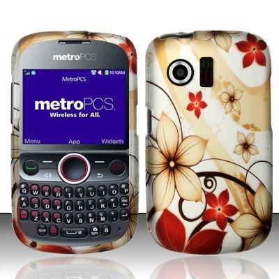 Hard Rubber Feel Design Case for Huawei Pillar/Pinnacle - Red Flowers