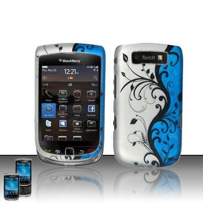 Hard Rubber Feel Design Case for Blackberry Torch 9800 - Blue Vines