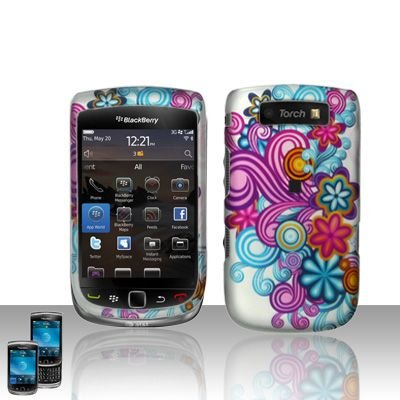 Hard Rubber Feel Design Case for Blackberry Torch 9800 - Purple Blue Flowers