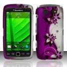 Hard Rubber Feel Design Case for Blackberry Torch 9850/9860 - Purple Vines