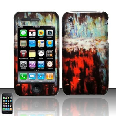 Hard Rubber Feel Design Case for Apple iPhone 3G/3Gs - Colorful Art