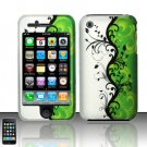 Hard Rubber Feel Design Case for Apple iPhone 3G/3Gs - Green Black Vines