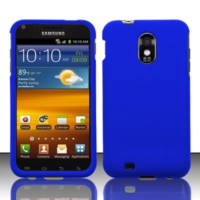 Hard Rubber Feel Plastic Case for Samsung Epic Touch 4G/Galaxy S2 - Blue
